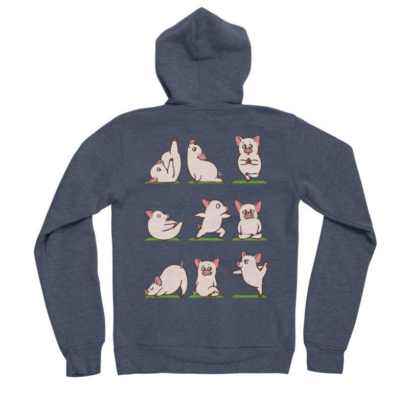 Pig Yoga Women's Sponge Fleece Zip-Up Hoody by huebucket's Artist Shop