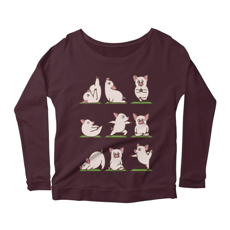 Pig Yoga Women's Scoop Neck Longsleeve T-Shirt by huebucket's Artist Shop