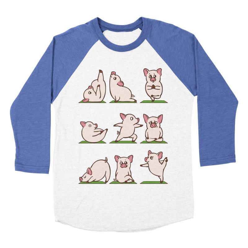 Pig Yoga Men's Baseball Triblend Longsleeve T-Shirt by huebucket's Artist Shop
