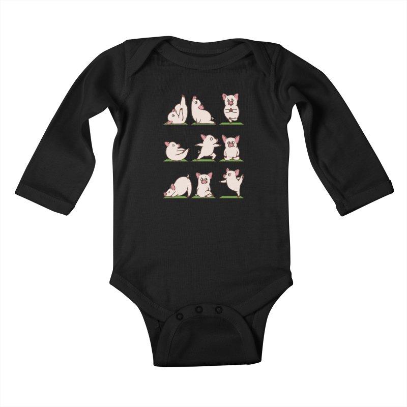 Pig Yoga Kids Baby Longsleeve Bodysuit by huebucket's Artist Shop