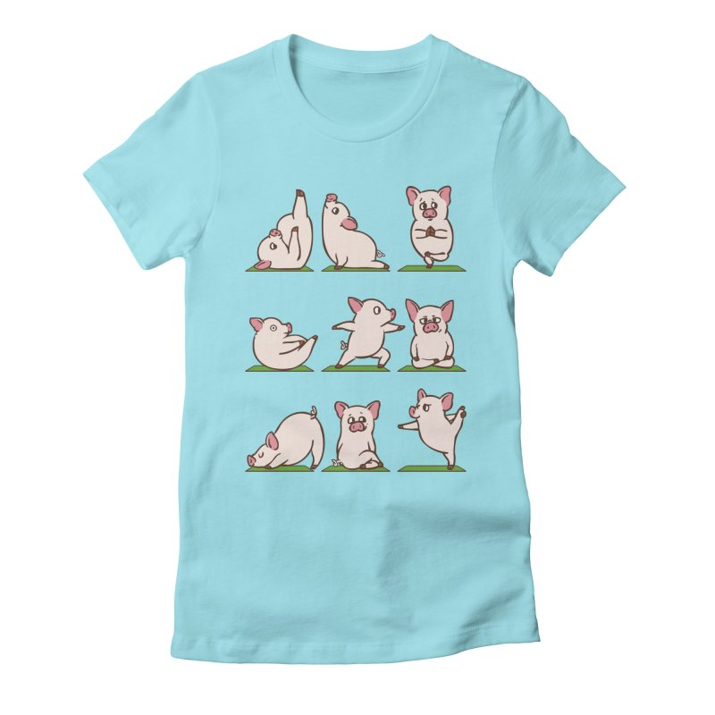 Pig Yoga Women's Fitted T-Shirt by huebucket's Artist Shop