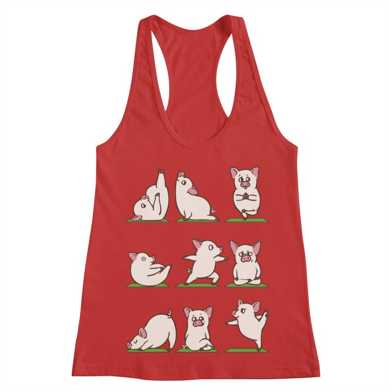 Pig Yoga Women's Racerback Tank by huebucket's Artist Shop