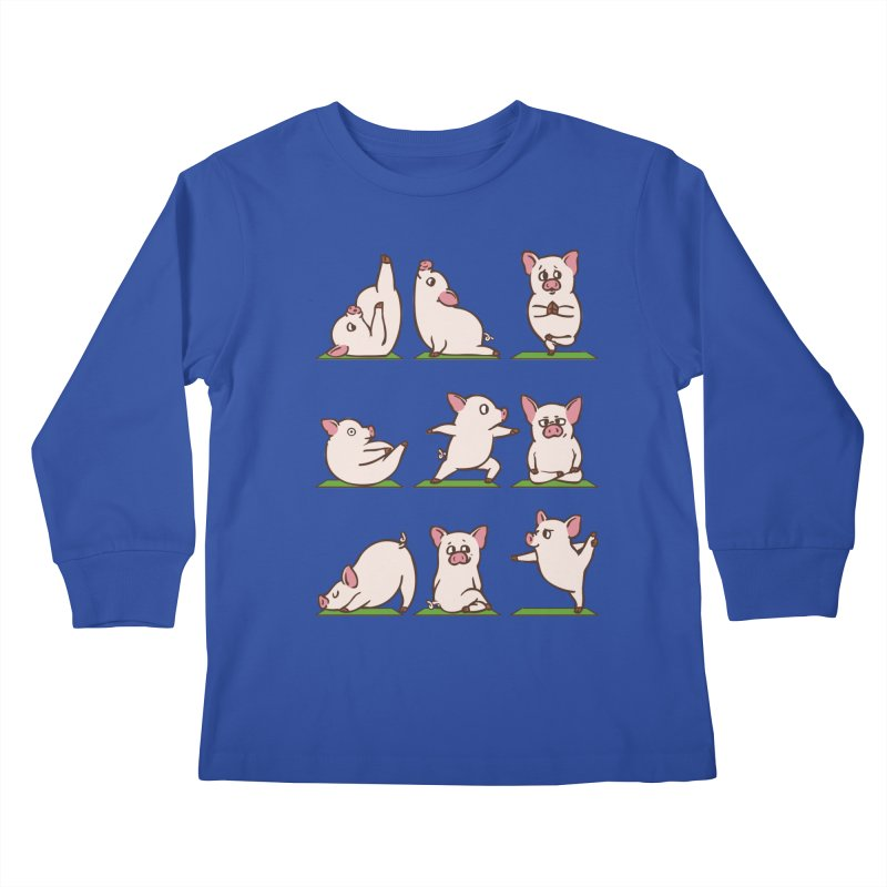 Pig Yoga Kids Longsleeve T-Shirt by huebucket's Artist Shop