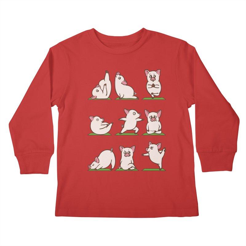Pig Yoga Kids Longsleeve T-Shirt by huebucket's Artist Shop