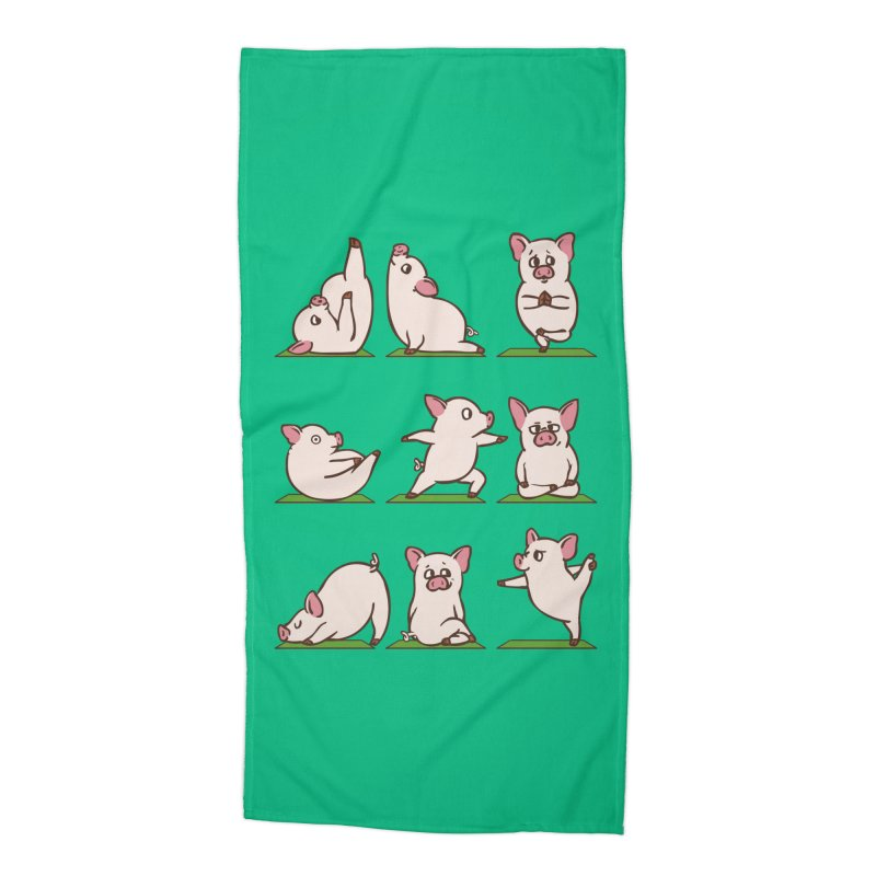 Pig Yoga Accessories Beach Towel by huebucket's Artist Shop