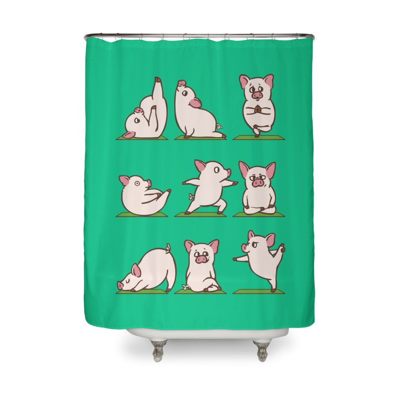 Pig Yoga Home Shower Curtain by huebucket's Artist Shop