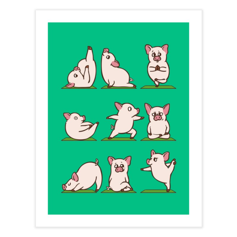 Pig Yoga Home Fine Art Print by huebucket's Artist Shop