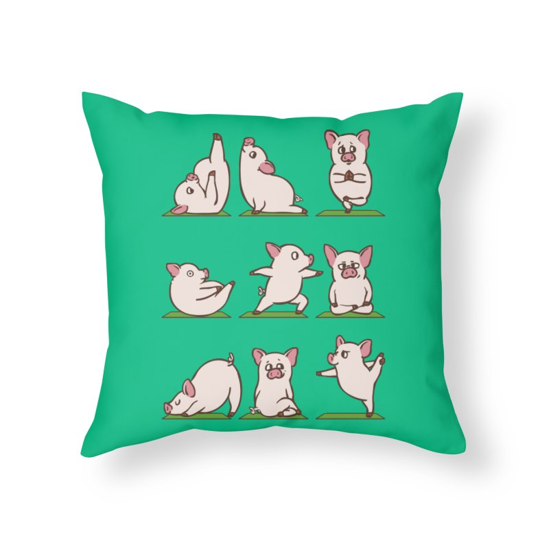 Pig Yoga Home Throw Pillow by huebucket's Artist Shop