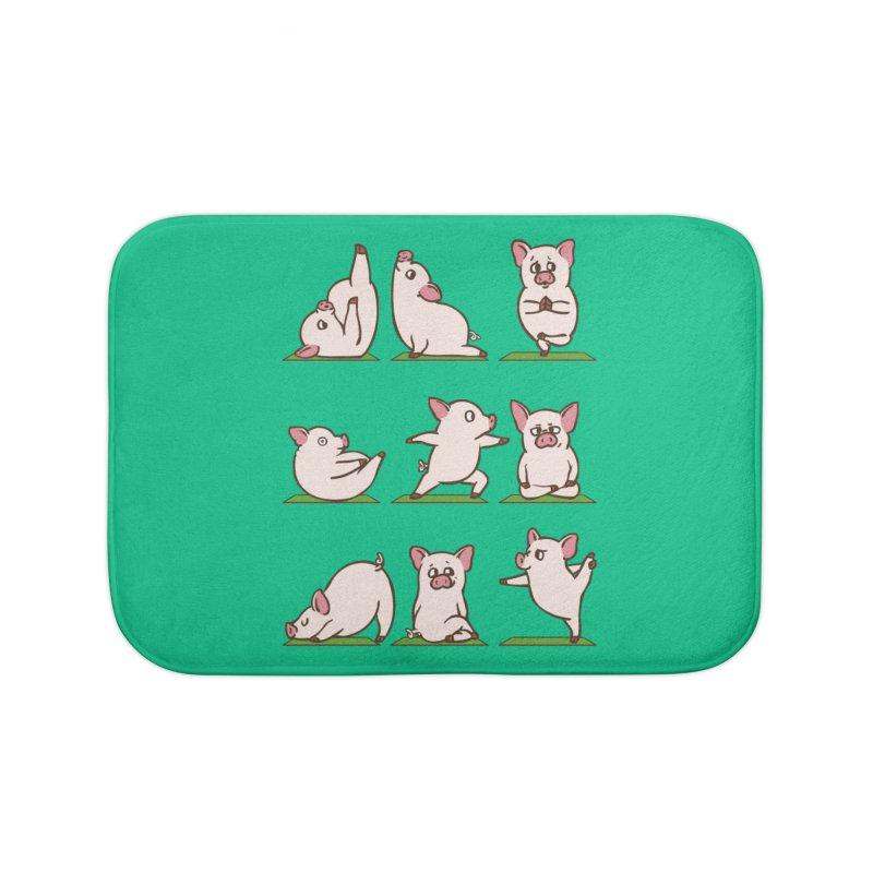 Pig Yoga Home Bath Mat by huebucket's Artist Shop