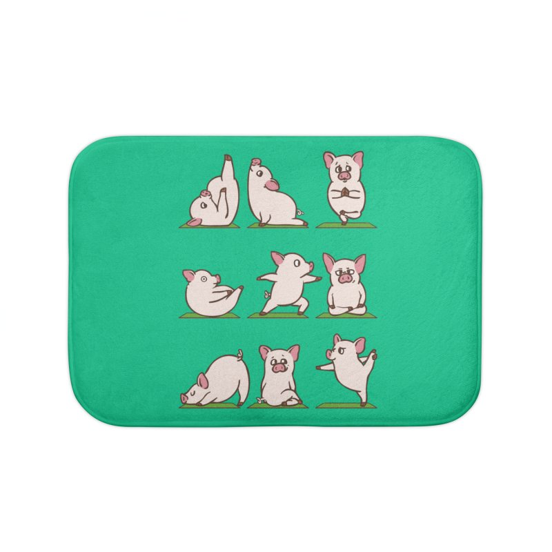 Pig Yoga Home Bath Mat by huebucket's Artist Shop