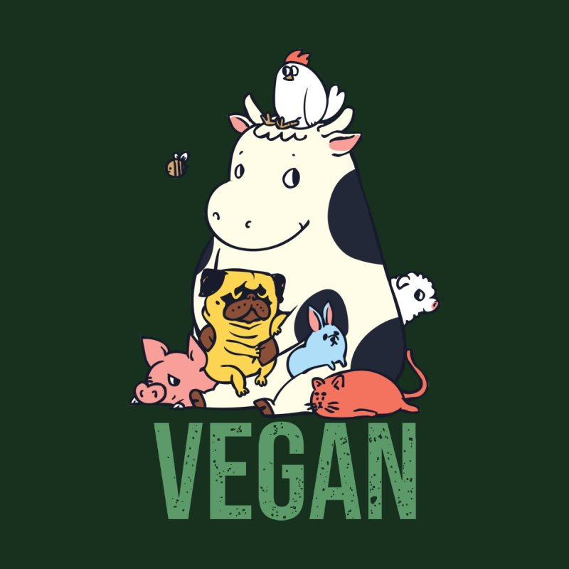 Pug and Friends Vegan Women's T-Shirt by huebucket's Artist Shop