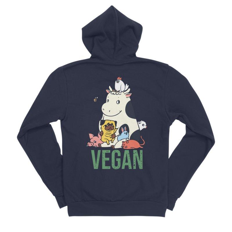Pug and Friends Vegan Women's Sponge Fleece Zip-Up Hoody by huebucket's Artist Shop