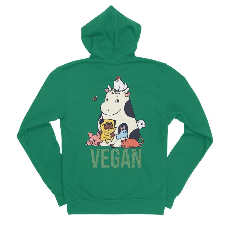 Pug and Friends Vegan Men's Sponge Fleece Zip-Up Hoody by huebucket's Artist Shop