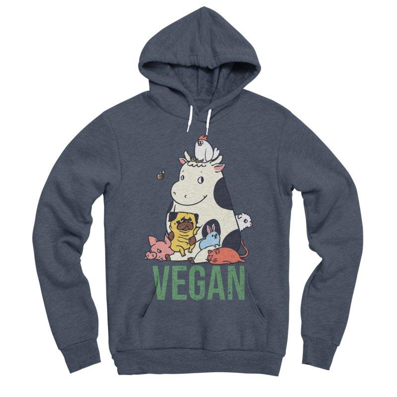 Pug and Friends Vegan Men's Sponge Fleece Pullover Hoody by huebucket's Artist Shop