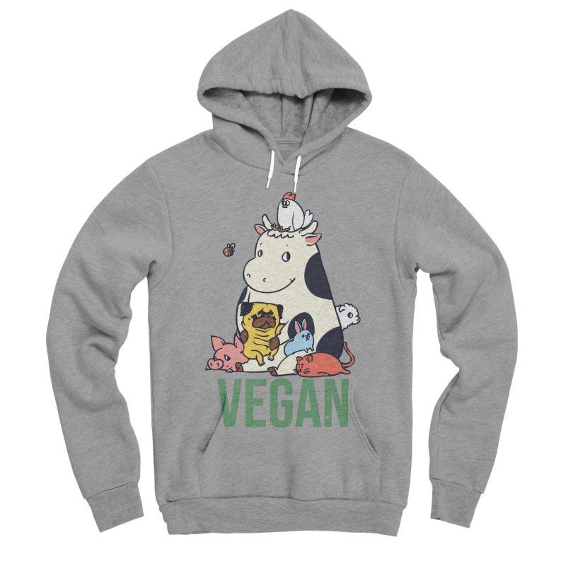 Pug and Friends Vegan Women's Sponge Fleece Pullover Hoody by huebucket's Artist Shop