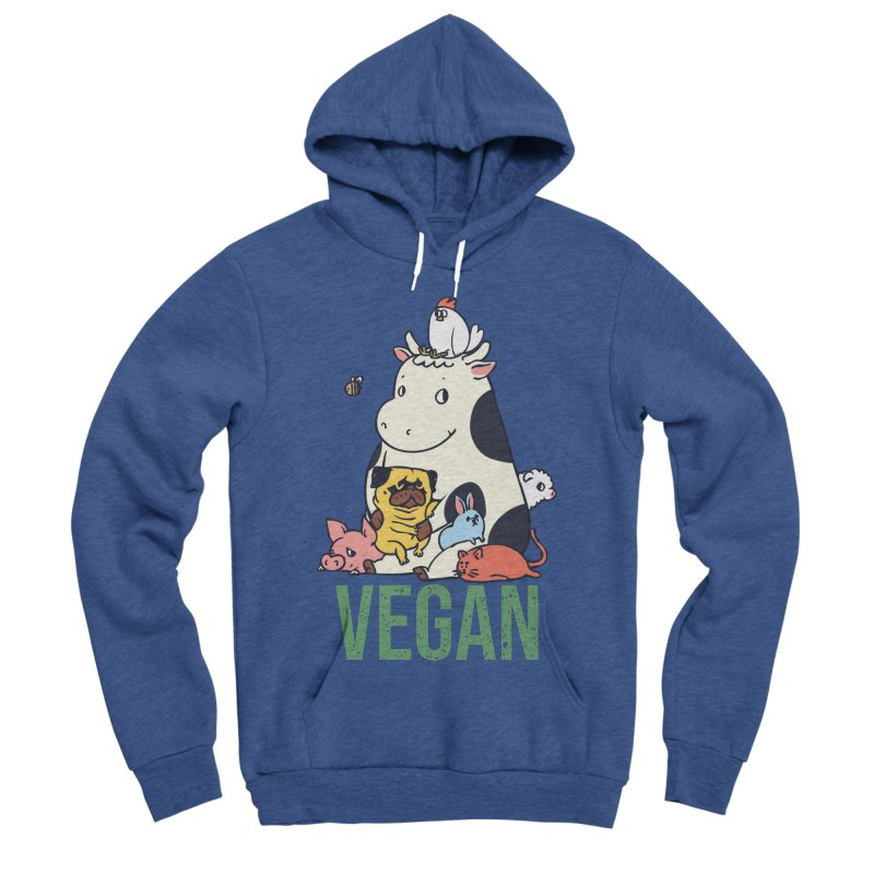 Pug and Friends Vegan Women's Sponge Fleece Pullover Hoody by huebucket's Artist Shop