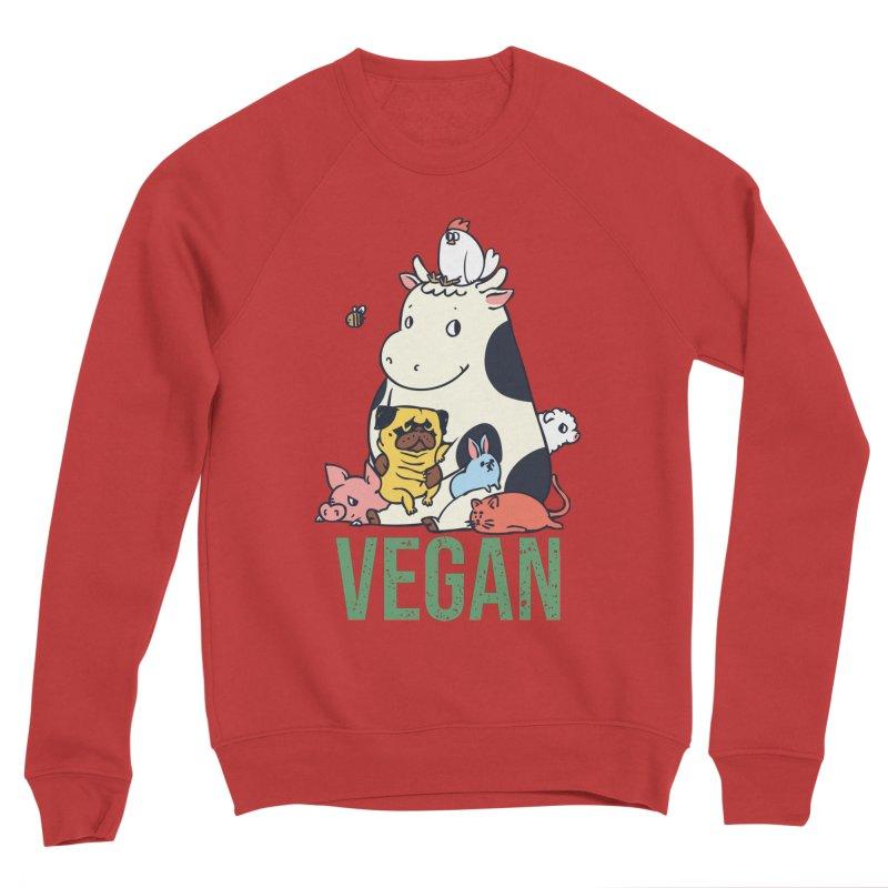 Pug and Friends Vegan Men's Sponge Fleece Sweatshirt by huebucket's Artist Shop