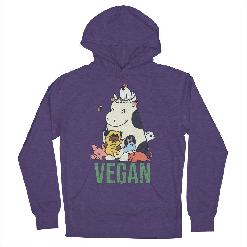 Pug and Friends Vegan Women's French Terry Pullover Hoody by huebucket's Artist Shop
