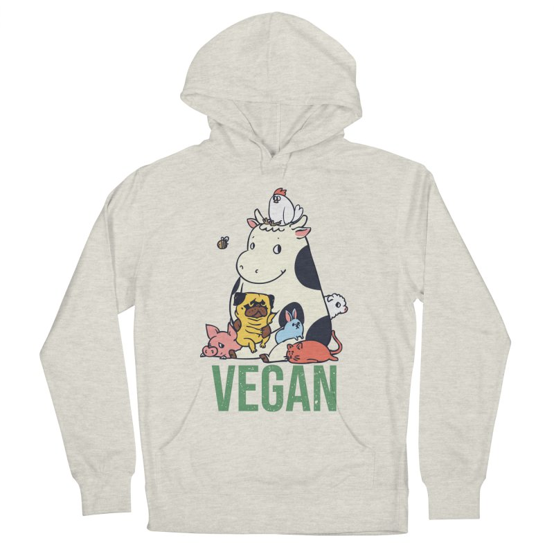 Pug and Friends Vegan Men's French Terry Pullover Hoody by huebucket's Artist Shop