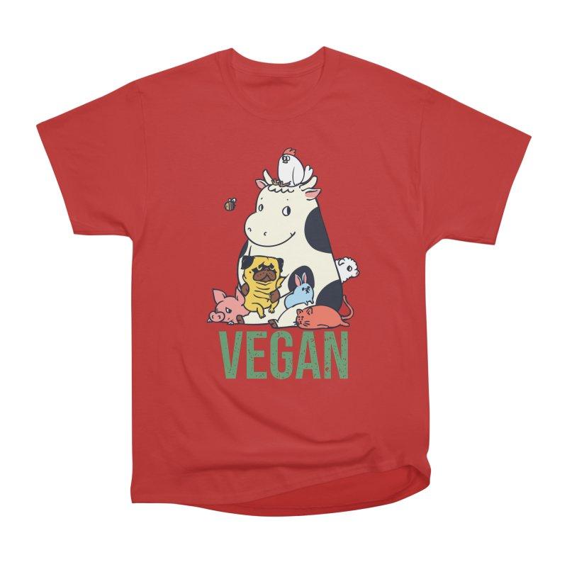 Pug and Friends Vegan Men's Heavyweight T-Shirt by huebucket's Artist Shop