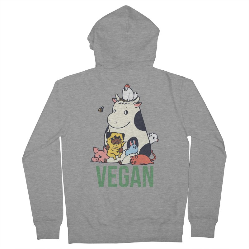 Pug and Friends Vegan Women's French Terry Zip-Up Hoody by huebucket's Artist Shop