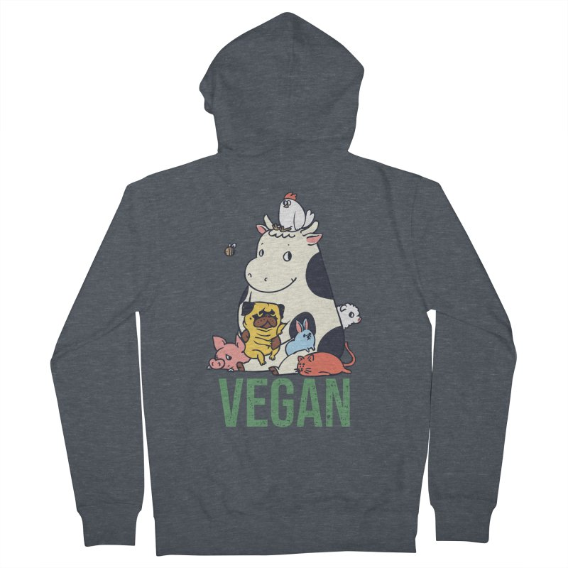 Pug and Friends Vegan Men's French Terry Zip-Up Hoody by huebucket's Artist Shop
