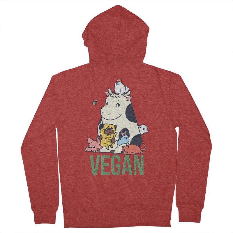 Pug and Friends Vegan Men's French Terry Zip-Up Hoody by huebucket's Artist Shop