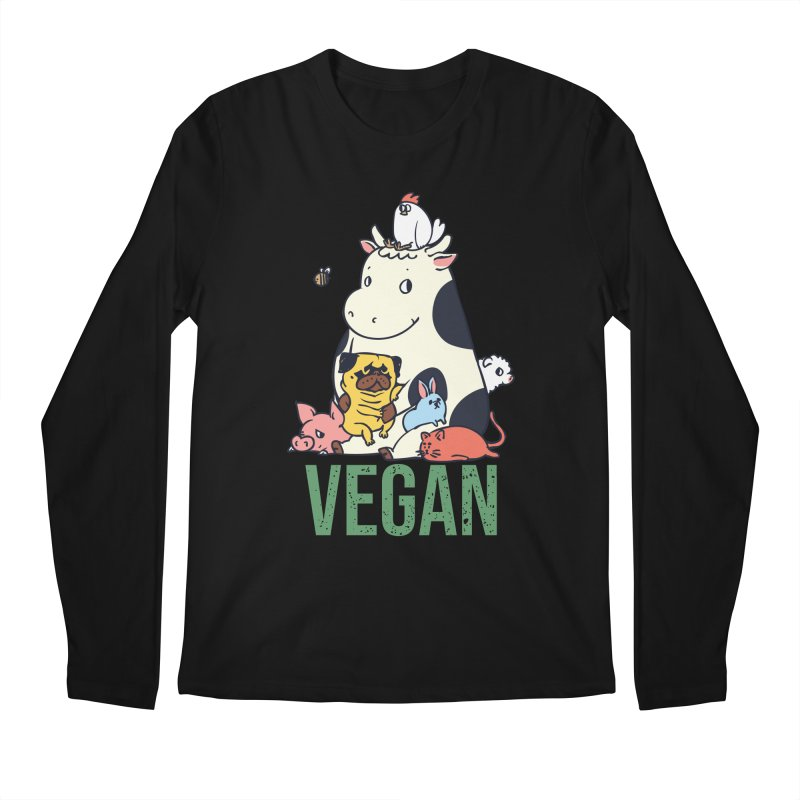 Pug and Friends Vegan Men's Regular Longsleeve T-Shirt by huebucket's Artist Shop