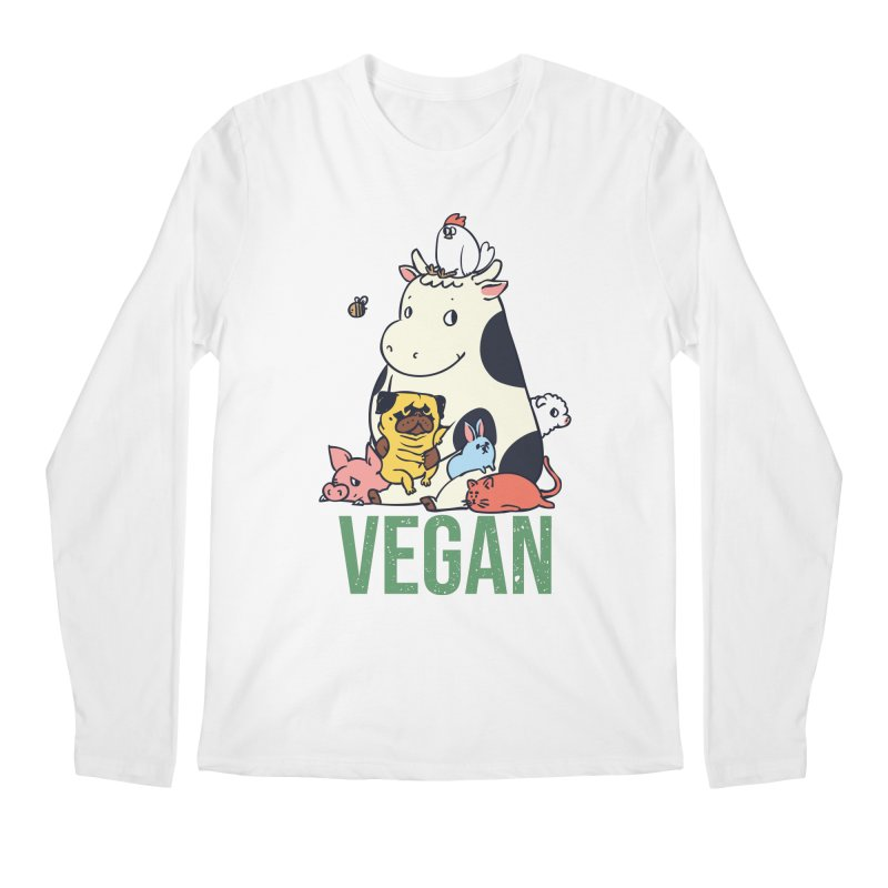 Pug and Friends Vegan Men's Regular Longsleeve T-Shirt by huebucket's Artist Shop