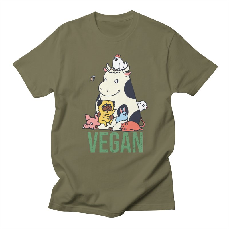 Pug and Friends Vegan Women's Regular Unisex T-Shirt by huebucket's Artist Shop