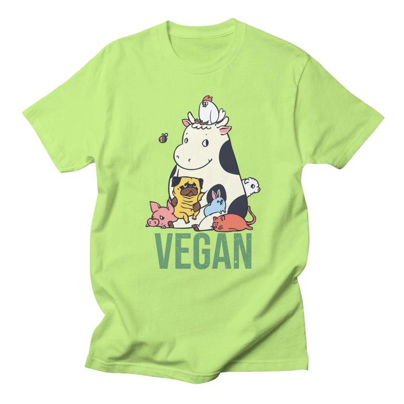 Pug and Friends Vegan Men's Regular T-Shirt by huebucket's Artist Shop