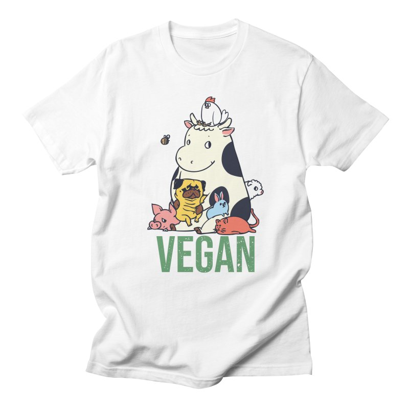 Pug and Friends Vegan Women's Regular Unisex T-Shirt by huebucket's Artist Shop