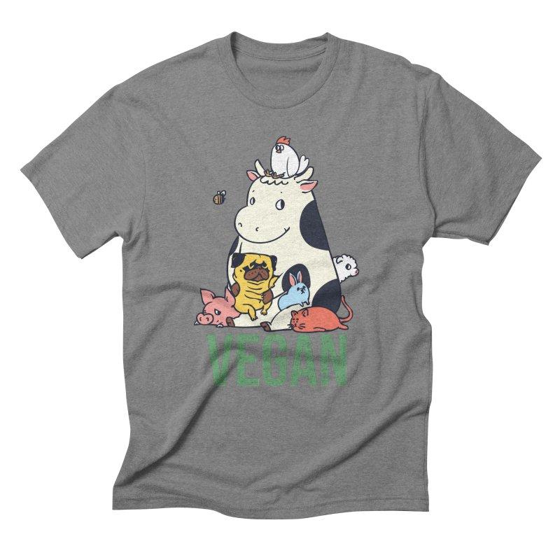 Pug and Friends Vegan Men's Triblend T-Shirt by huebucket's Artist Shop