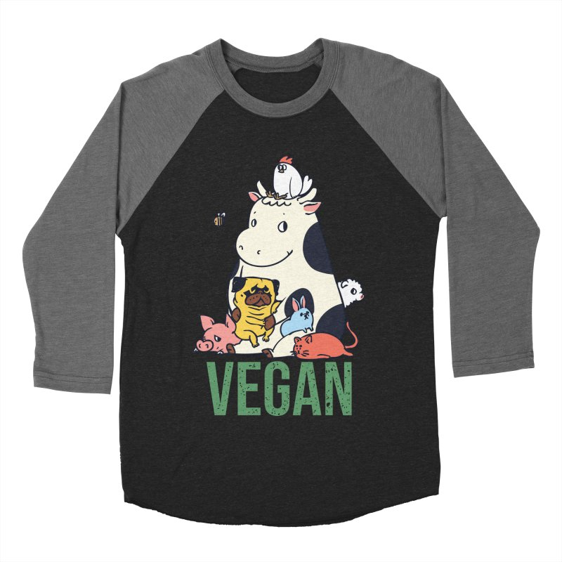 Pug and Friends Vegan Women's Baseball Triblend Longsleeve T-Shirt by huebucket's Artist Shop