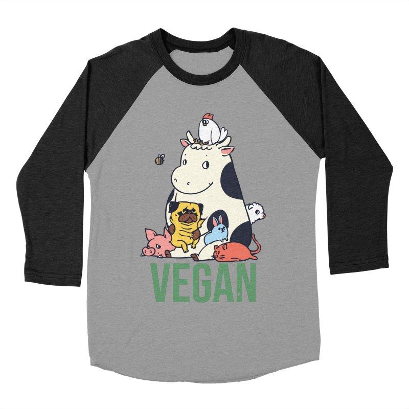 Pug and Friends Vegan Women's Baseball Triblend Longsleeve T-Shirt by huebucket's Artist Shop