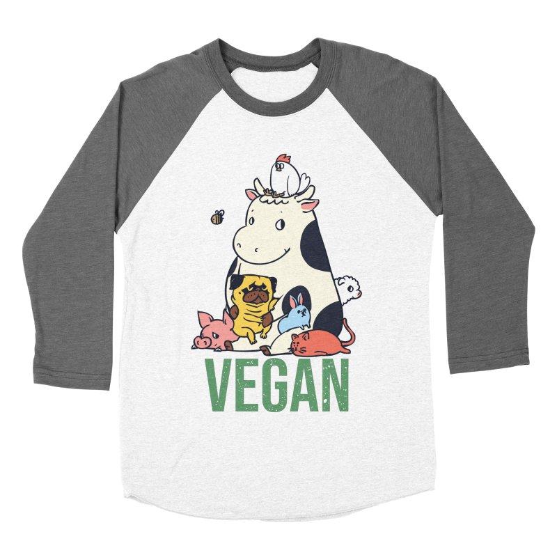 Pug and Friends Vegan Men's Baseball Triblend Longsleeve T-Shirt by huebucket's Artist Shop