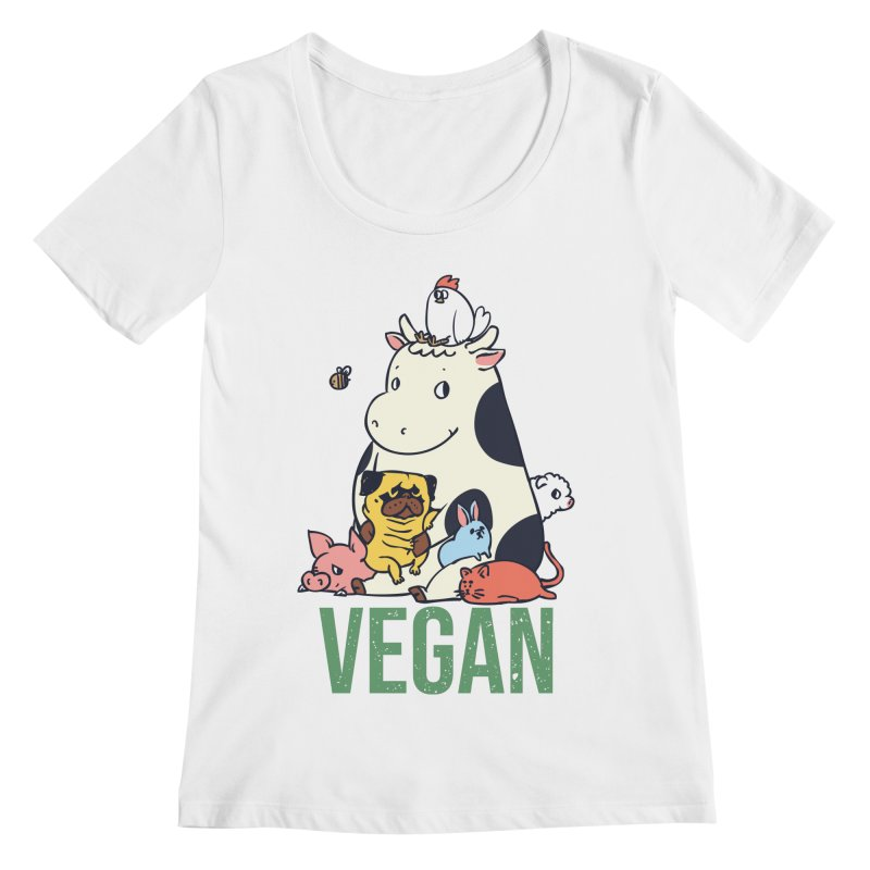 Pug and Friends Vegan Women's Regular Scoop Neck by huebucket's Artist Shop