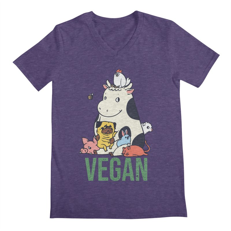 Pug and Friends Vegan Men's Regular V-Neck by huebucket's Artist Shop