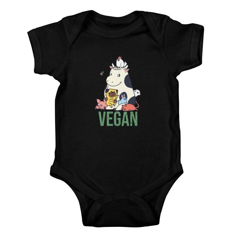 Pug and Friends Vegan Kids Baby Bodysuit by huebucket's Artist Shop
