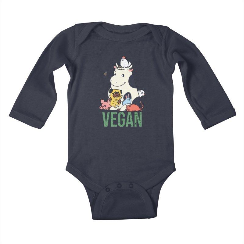 Pug and Friends Vegan Kids Baby Longsleeve Bodysuit by huebucket's Artist Shop