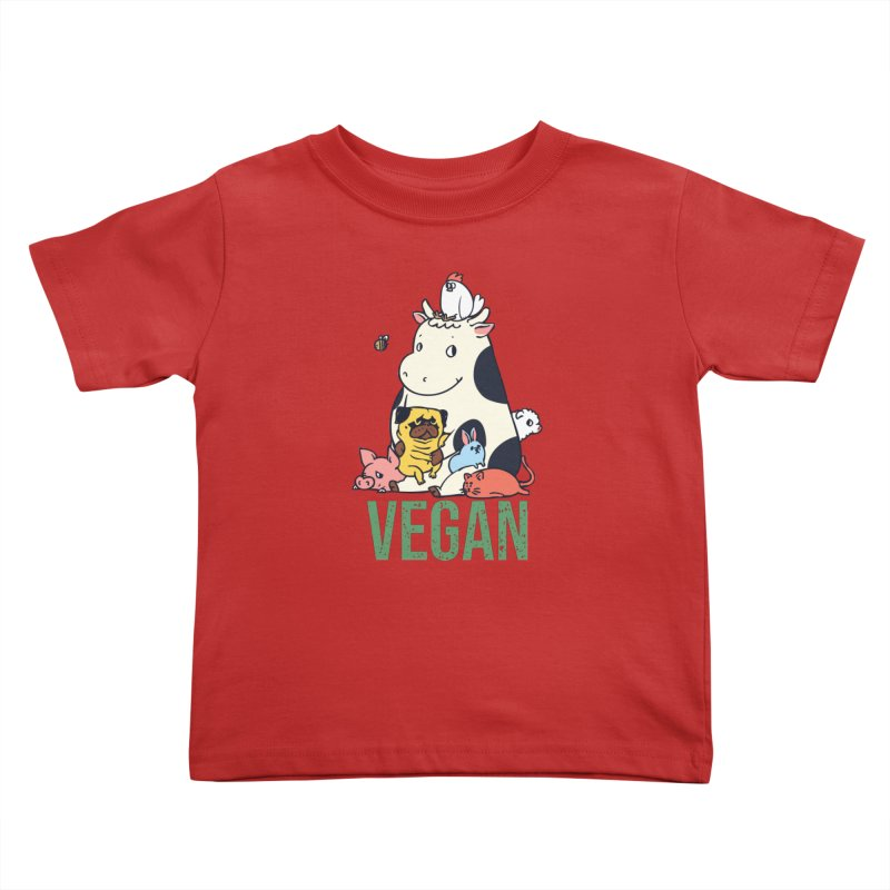 Pug and Friends Vegan Kids Toddler T-Shirt by huebucket's Artist Shop