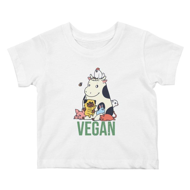 Pug and Friends Vegan Kids Baby T-Shirt by huebucket's Artist Shop