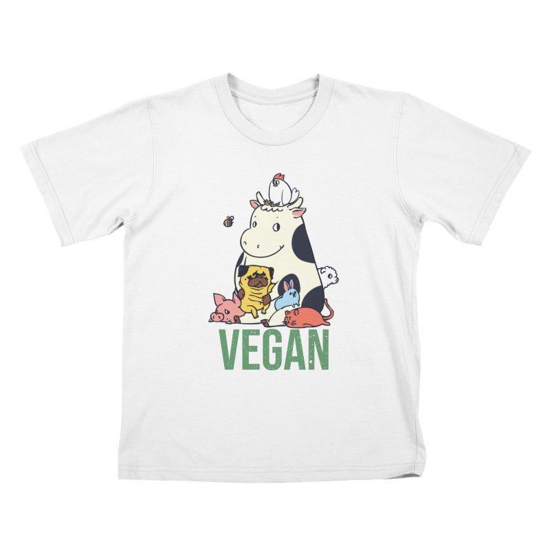 Pug and Friends Vegan Kids T-Shirt by huebucket's Artist Shop