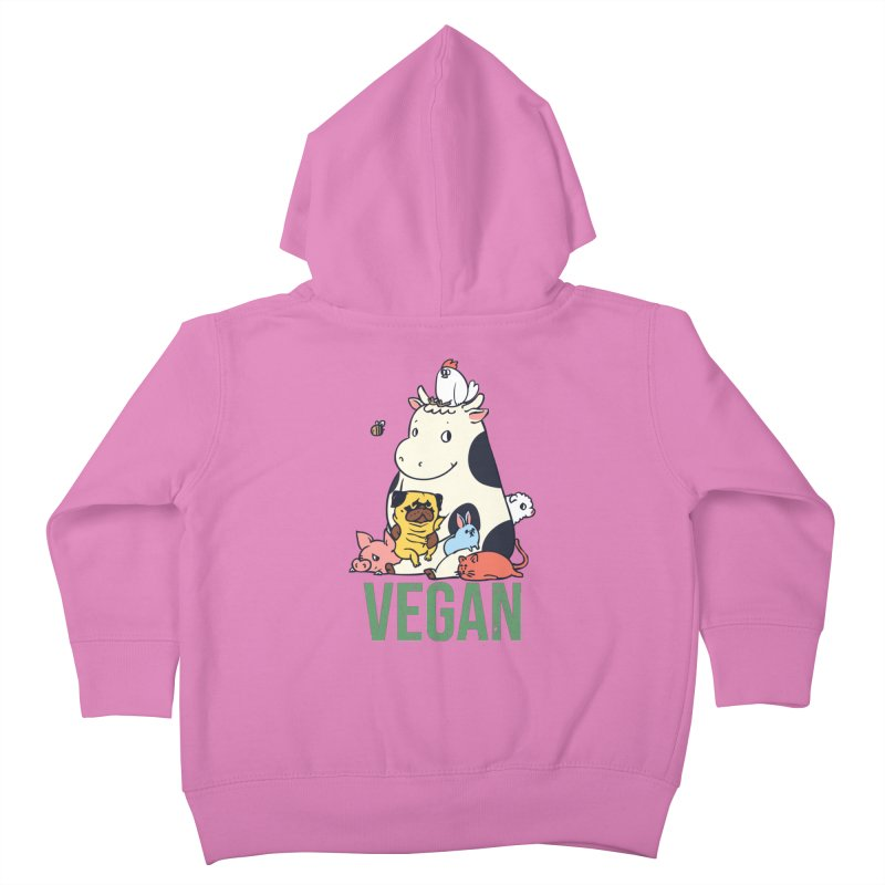 Pug and Friends Vegan Kids Toddler Zip-Up Hoody by huebucket's Artist Shop