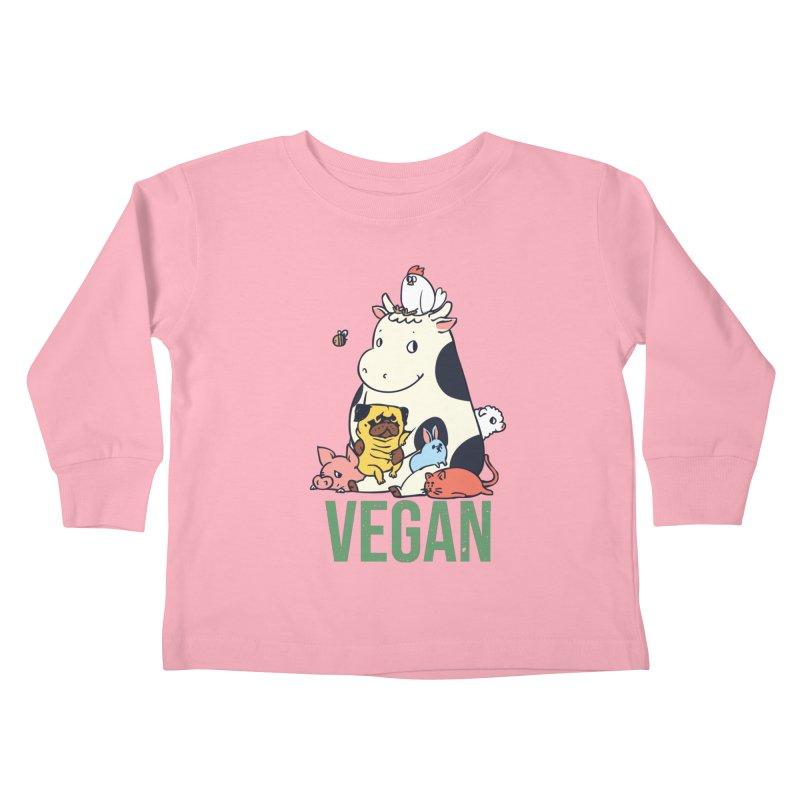Pug and Friends Vegan Kids Toddler Longsleeve T-Shirt by huebucket's Artist Shop