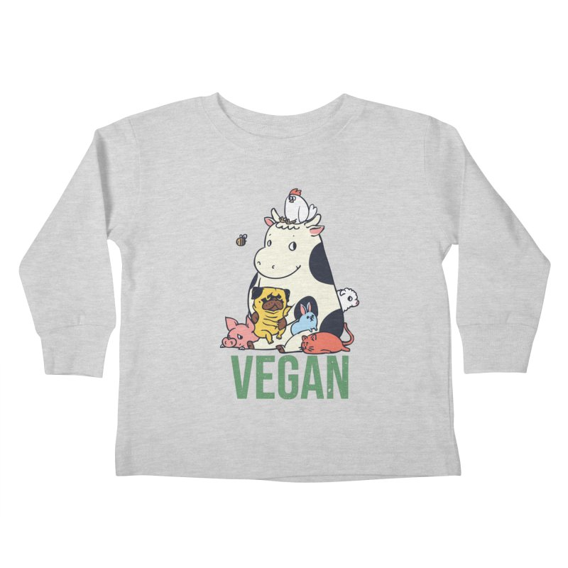 Pug and Friends Vegan Kids Toddler Longsleeve T-Shirt by huebucket's Artist Shop