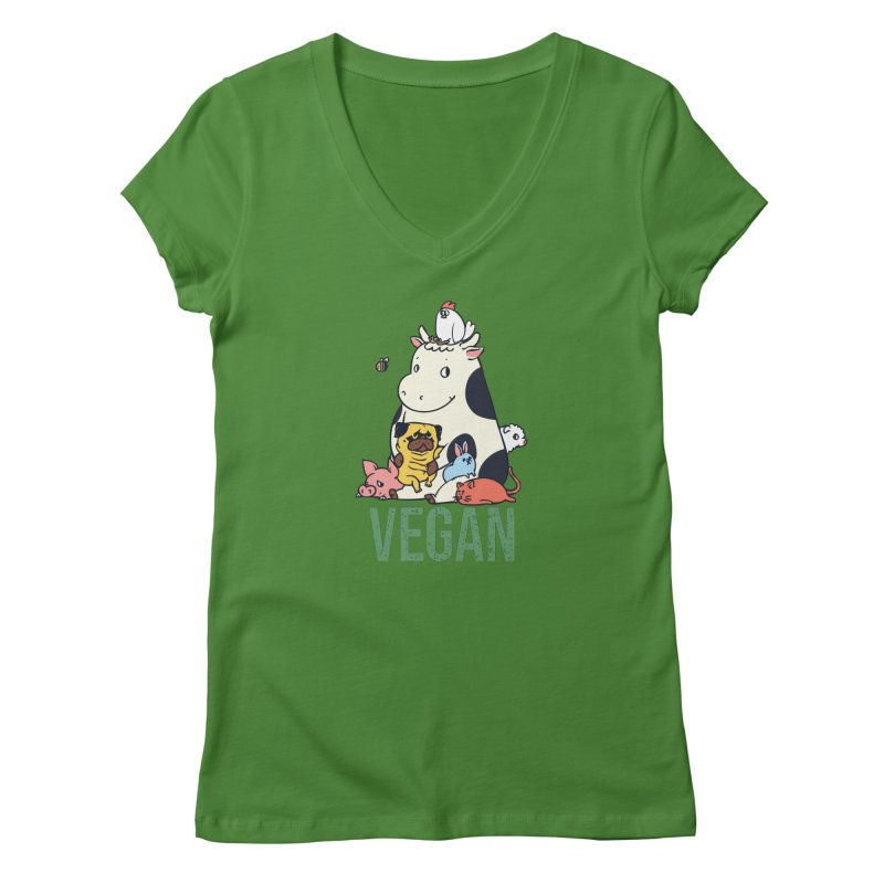 Pug and Friends Vegan Women's V-Neck by huebucket's Artist Shop