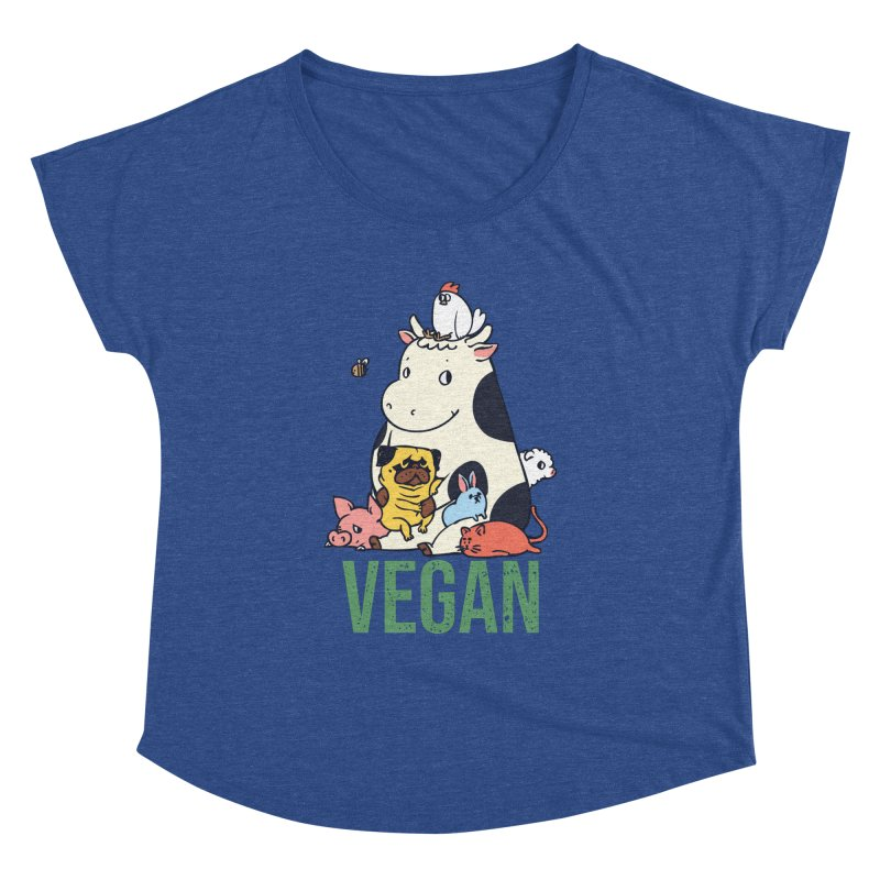 Pug and Friends Vegan Women's Dolman Scoop Neck by huebucket's Artist Shop