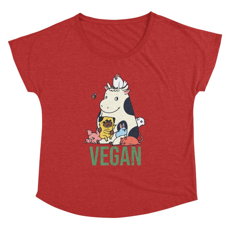 Pug and Friends Vegan Women's Dolman Scoop Neck by huebucket's Artist Shop