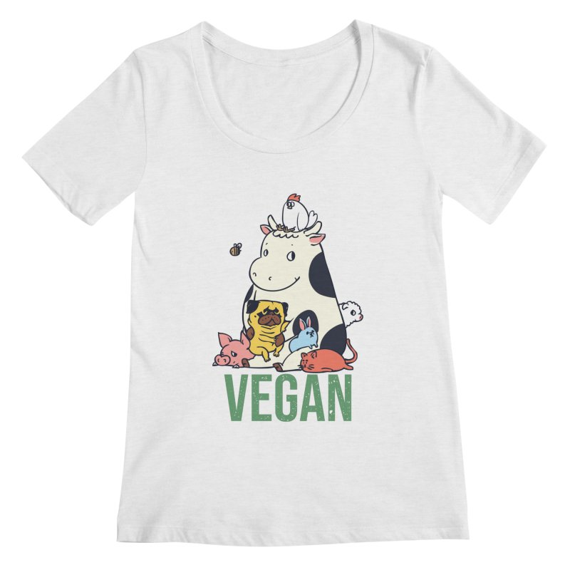 Pug and Friends Vegan Women's Regular Scoop Neck by huebucket's Artist Shop